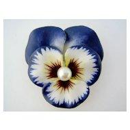 KREMENTZ Art Nouveau 14K Enamel Enameled Pearl Pansy Flower Large Brooch Pin