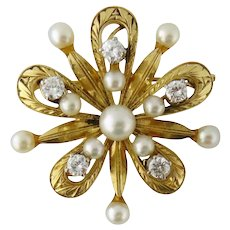 Vintage Mikimoto 14K Gold Cultured Pearl & 0.75ct Diamond Flower Motif Brooch