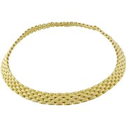 Vintage Craig Drake 18K Yellow Gold Textured Panther Link Necklace, Italy