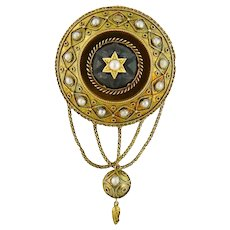 Antique Victorian 14K Yellow Gold Garnet Cabochon Locket Brooch Pendant