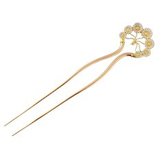 Antique Victorian 14K Gold & Enameled Daisy Flower Hair Pin Comb