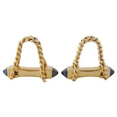 Vintage 18k Yellow Gold Synthetic Sapphire Stirrup Wrap Around Cufflinks