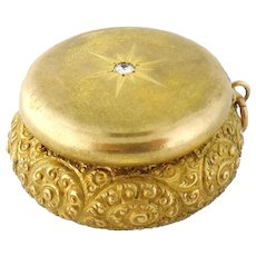 Antique 14K Yellow Gold Diamond Repousse Engrave Pill Box