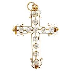 Antique Victorian 18K Gold & 5ct Old Mine-cut Diamond Large Cross Pendant Brooch