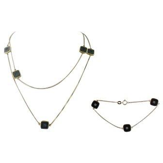 Vintage Estate UnoAErre 18K Gold Onyx Chain Necklace Bracelet Set, Italy
