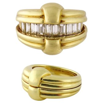 Vintage 18K Yellow Gold 1ct Baguette Diamond Convertible Hinged Band Ring Sz: 6