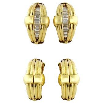 Vintage 18K Yellow Gold 2ct Baguette Diamond Convertible Hinged Earrings