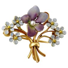 Antique Art Nouveau 14K Enamel Forget-me-not Violet Flower Bouquet Watch Pin