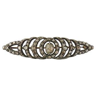 Antique Victorian Silver 14K Gold, Rose-cut Diamond Brooch. c. 1890