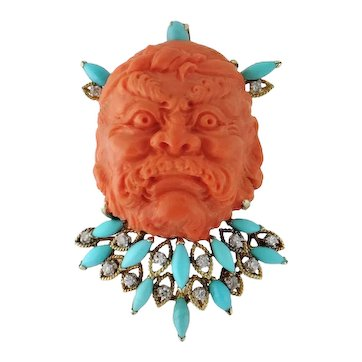 Vintage 14K Coral Carved Man's Face Turquoise Diamond Large Cameo Brooch Pendant