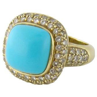 Vintage 18K Yellow Gold Turquoise & Diamond Cocktail Ring, Size:8.25