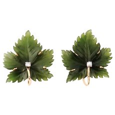 Vintage 14K Gold Carved Nephrite Jade Diamond Leaf Earrings Clips