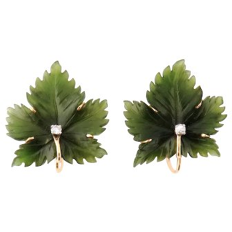 Vintage 14K Gold Carved Nephrite Jade Diamond Leaf Earrings Clips