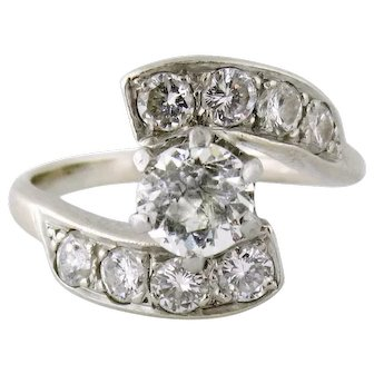 Vintage 14K Gold 1.20ct Old & European-cut Diamond Moi et Toi Bypass Ring