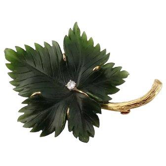 Vintage 14K Gold Carved Nephrite Jade Diamond Leaf Brooch