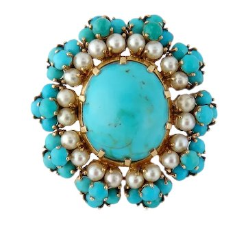 Vintage Mid-Century French 18K Gold Natural Turquoise and Pearl Brooch
