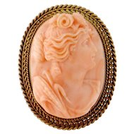 Antique Victorian 14K Yellow Gold Carved Coral Lady Female Cameo Brooch Pendant