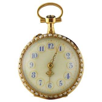 Antique 18K Yellow Gold Seed Pearl & Rose-cut Diamond Watch Pendant