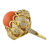 Vintage Mid-Century Estate 18K Gold Coral and Diamond Cluster Cocktail Ring