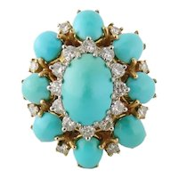 Vintage Mid-Century Estate 18K Gold Turquoise and Diamond Cluster Cocktail Ring