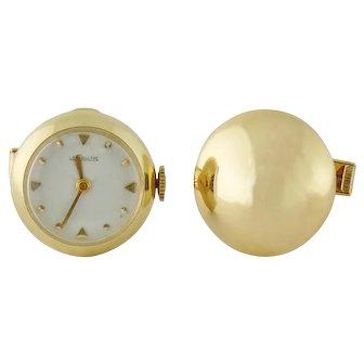 Vintage Jaeger LeCoultre 14K Gold Watch Cufflinks, c. 1960s ~Triple Signed