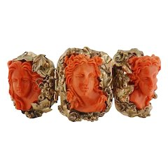 Antique Victorian Italian 9K Gold Three High Relief Female Coral Cameo Bracelet