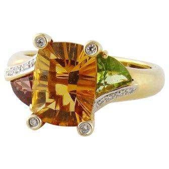 Estate Bellari 18K Gold 3ct Fantasy-cut Citrine Peridot Garnet Diamond Ring
