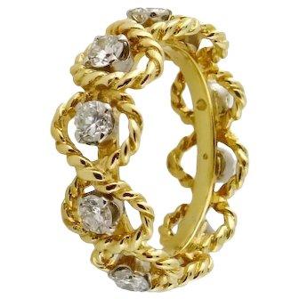 Estate 18K Yellow Gold & 0.90ct Diamond Eternity Band Ring, Sz:5