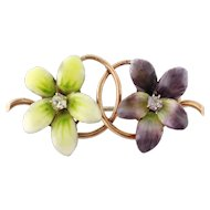 Antique Victorian 14K Gold Enamel Diamond 2-Violet Flowers Brooch Pin