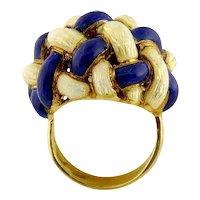 Vintage 18K Gold & Enamel Basket-weave Interlacing Ring, Sz: 6.5