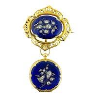 Antique Victorian 18K Enamel Rose-cut Diamond Watch & Matching Lapel Watch Pin