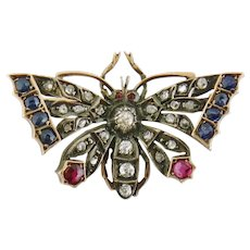 Antique Victorian 14K Silver Rose-cut Diamond Sapphire Ruby Butterfly Brooch Pin