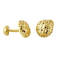 Estate Tiffany & Co 18K Yellow Gold Vannerie Cufflinks, c. 1995