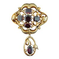 Antique Victorian 14K Yellow Gold & Amethyst Large Brooch Pendant c. 1870s