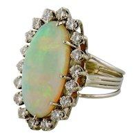 Vintage Estate 14K White Gold Opal & Diamond Halo Cluster Cocktail Ring Sz: 8.25