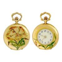 Antique Art Nouveau 18K Yellow Gold and Enamel Lilly Flower Decor Swiss Watch Pendant