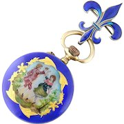 Antique Silver Enamel Miniature Lady's Pendant Watch, Germany Link & Angell Watch Pin