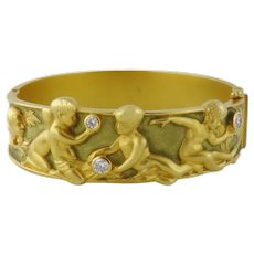 Estate Fantastic Masriera 18K Gold Enamel Diamond Cherub Bangle Bracelet