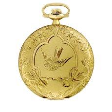 Antique Elgin Swallow Engraved 14K Gold 45mm Unisex Hunter Case Pocket Watch