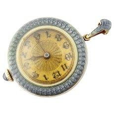 Antique Henry Blank & Co 14K Guilloche Enamel Watch Pendant, c. 1915
