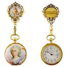 Antique Golay Fils & Stahl 18K & Miniature Portrait Female & Angel Lapel Watch & Pin French & Swiss, c.1890