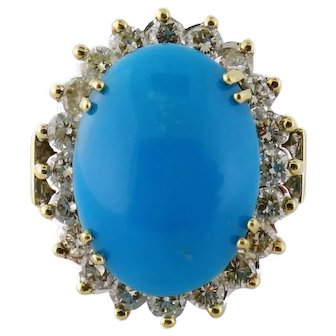 Vintage 18K GIA Natural Turquoise 1.66ct Diamond Cluster Cocktail Ring