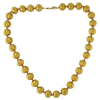 """Vintage Italian 18K Yellow Gold Fluted Bead Ball 20"""" Necklace Strand"""