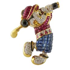 Vintage Estate 18K 1ct Diamond 6ct Sapphire & Ruby Mickey Mouse Golfer Brooch