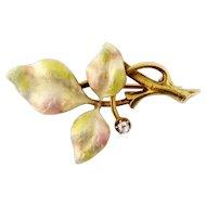 Bippart, Griscom & Osborn Art Nouveau 14K Iridescent Enamel Diamond Leaves Pin