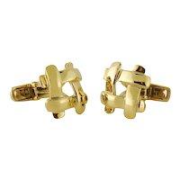 Estate Tiffany & Co 18K Yellow Gold Grid Mesh Design Cufflinks