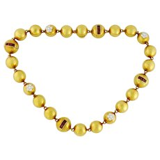 Vintage 18K Gold, Diamond & Ruby Half-Bead Necklace, Italy Length:15.25""