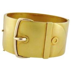 Fantastic Vintage 15ct Yellow Gold Buckle Bangle Bracelet