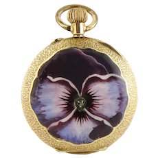 Antique Swiss Made 14K Yellow Gold Enamel Pansy 30mm Watch Pendant