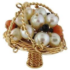 Vintage Estate 14K Gold Pearl Coral Basket Charm Pendant, c. 1960s